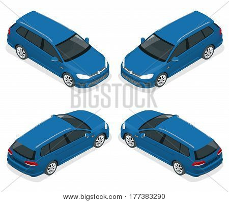 5-door Hatchback car isolated. Vector isometric icons set. Template on white background. The ability to easily change the color. Urban transport