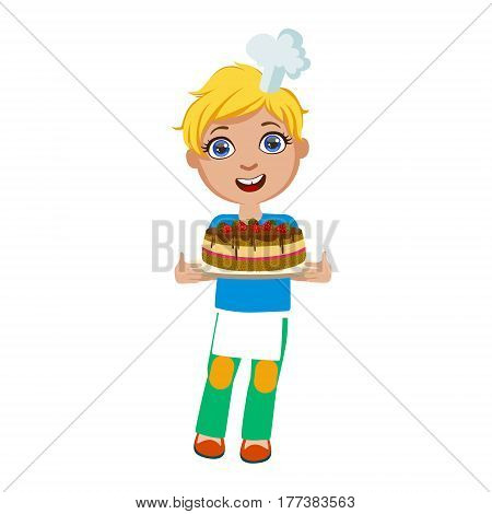 Boy Holding Chocolate Party Cake, Cute Kid In Chief Toque Hat Cooking Food Vector Illustration. Young Child Wanting To Become A Cook In Cooking Class Smiling Cartoon Character.