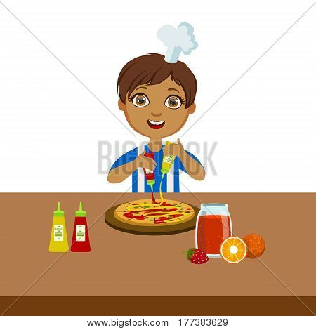 Boy Making Pizza, Cute Kid In Chief Toque Hat Cooking Food Vector Illustration. Young Child Wanting To Become A Cook In Cooking Class Smiling Cartoon Character.