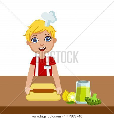 Boy With Rolling Pin, Cute Kid In Chief Toque Hat Cooking Food Vector Illustration. Young Child Wanting To Become A Cook In Cooking Class Smiling Cartoon Character.