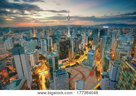 Aerial view of Kuala Lumpur Skyline at dusk