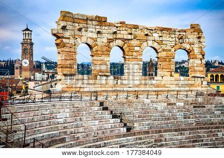 Verona Italy. Roman Empire amphitheatre Arena completed in 30AD the third largest in the world.