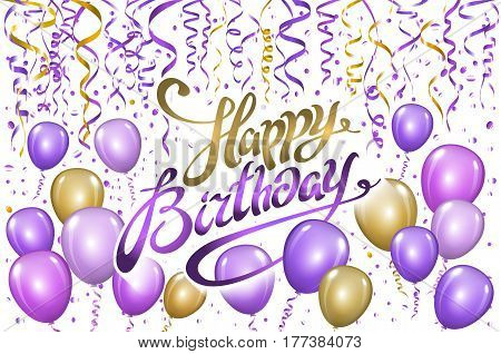 Violet Gold Balloons Happy Birthday Background. Vector