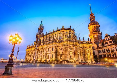 Dresden Germany. Cathedral of the Holy Trinity or Hofkirche Saxony.