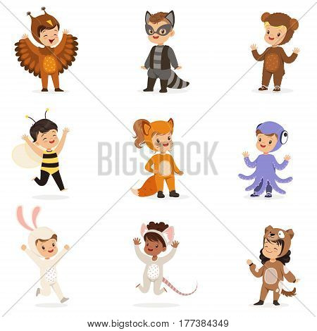 Kinds In Animal Costume Disguise Happy And Ready For Halloween Masquerade Party Set Of Cute Disguised Infants. Smiling Children Dressed As Wildlife And Insects Vector Cartoon Illustrations.