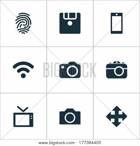 Vector Illustration Set Of Simple Gadget Icons. Elements Wireless Connection, Save, Television And Other Synonyms Wireless, Photographing And Camera.