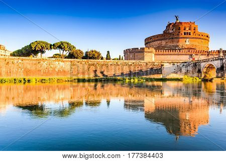 Rome Italy. Bridge and Castel Sant Angelo and Tiber River. Built by Hadrian emperor as mausoleum in 123AD ancient Roman Empire landmark. Vatican.