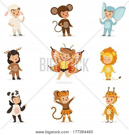 Kinds In Animal Costume Disguise Happy And Ready For Halloween Masquerade Party Collection Of Cute Disguised Infants. Smiling Children Dressed As Wildlife And Insects Vector Cartoon Illustrations.