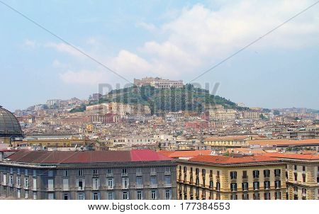 Cityscape and Castel Sant'Elmo on the hilltop of Vomero.