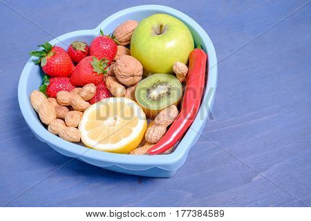 Heart Shaped Dish With Vegetables Isolated