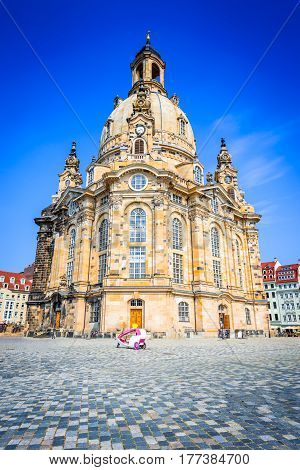 Dresden Germanu. Neumarkt Square at Frauenkirche (Our Lady church) in the center of Old town Saxony.