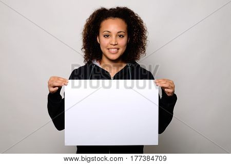 Black Woman Displaying Banner Isolated On Background