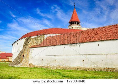 Prejmer Romania. Fortified church of Tartlau Prejmer. Churches built by Teutonic Knights settlement of the Transylvanian Saxons.