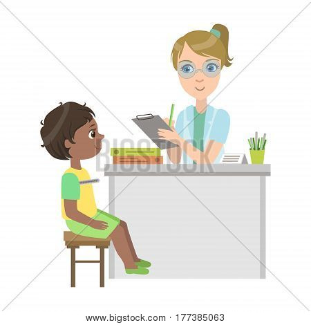 Pediatrician Measuring Temperature Of Little Boy, Part Of Kids Taking Health Exam Series Of Illustrations. Child On Appointment With A Doctor Going Through Medical Checkup.