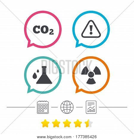 Attention and radiation icons. Chemistry flask sign. CO2 carbon dioxide symbol. Calendar, internet globe and report linear icons. Star vote ranking. Vector