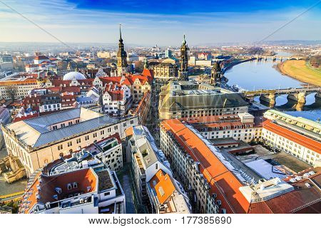 Dresden Germany - Aerial view from Frauenkirche with Hofkirche and Augustus Bridge