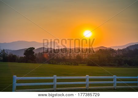 Image View Of The Sunset At Evening Sky Background.