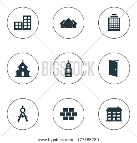 Vector Illustration Set Of Simple Construction Icons. Elements Popish, Gate, Engineer Tool And Other Synonyms House, Construction And Realty.
