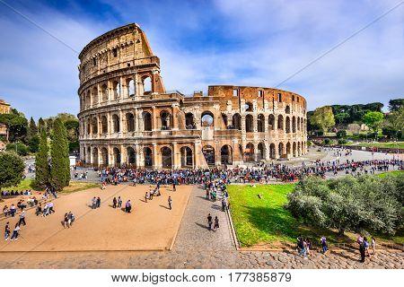 ROME ITALY - 3 APRIL 2016: Colosseum (Coliseum) the amphiteatre for gladiators fights in Ancient Rome Roman Empire.