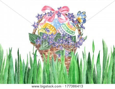 Wicker basket with Easter eggs and violets. Watercolor hand drawn basket with violets easter eggs butterfly isolated on white background. For greetings card design.