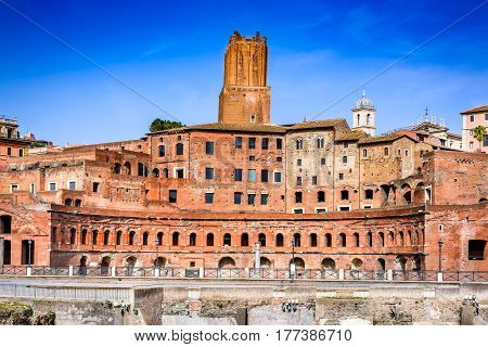 Rome Italy. Aerial panoramic view on Trajan's Market (Mercati Traianei on the Via dei Fori Imperiali) from Altar of the Fatherland. Market is part of ancient Rome Forum.