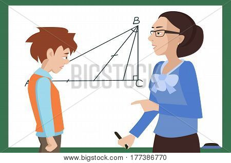 student has troubles at math lesson at the blackboard - funny  vector cartoon illustration