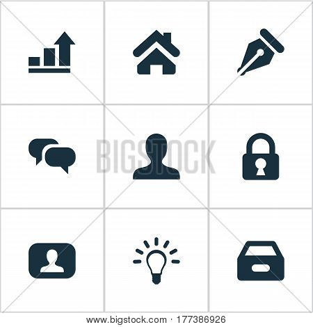 Vector Illustration Set Of Simple Trade Icons. Elements Dossier, Nib, Padlock And Other Synonyms Padlock, Lamp And User.