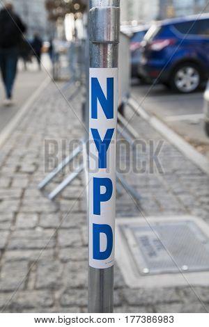 New York City, USA, December 31 2016: NYPD sign, New York City, USA