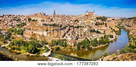 Panoramic View Of The Historic City Of Toledo With River Tajo In Castile-la Mancha, Spain
