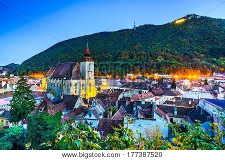 Brasov Romania - The Black Church and Tampa Mountain old medieval city of Transylvania.