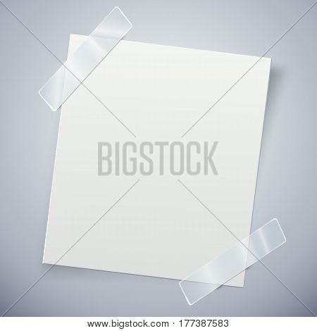 White paper note with the adhesive tape. Vector illustration