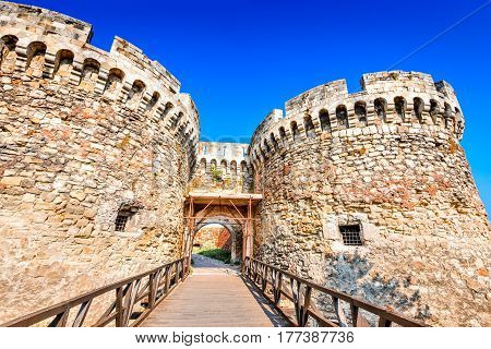 Belgrade Serbia. Kalemegdan Fortress entrance ancient Singidunum scene of battle between Hungarians Wallachs and Turks.