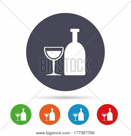 Alcohol sign icon. Drink symbol. Bottle with glass. Round colourful buttons with flat icons. Vector