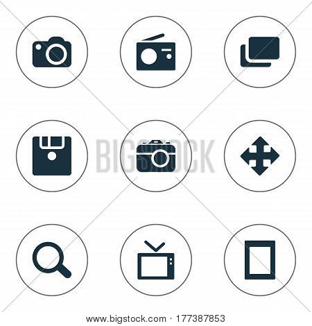 Vector Illustration Set Of Simple Hardware Icons. Elements Touch Computer, Search, Television And Other Synonyms Magnifier, Computer And Branch.