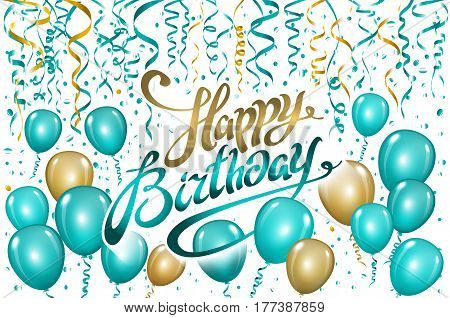 Balloons Happy Birthday On Black. Gold Blue Balloon Sparkles Holiday Background. Happiness Birth Day