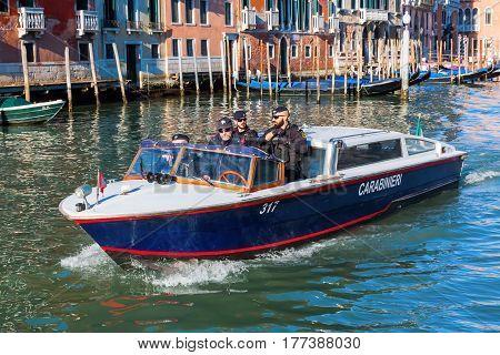 Police Boat In Venice, Italy