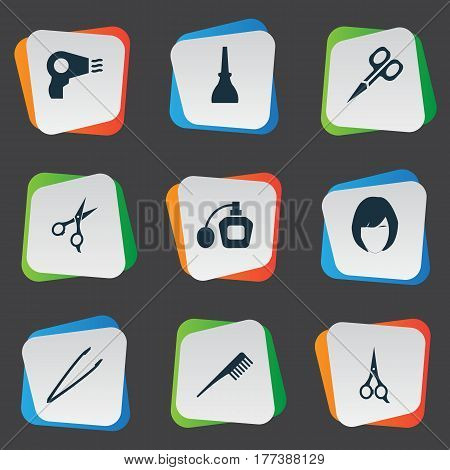 Vector Illustration Set Of Simple Salon Icons. Elements Nail Polish, Manicure, Pincers And Other Synonyms Pincers, Salon And Woman.