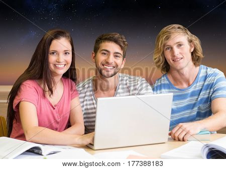Digital composite of Students Group using Laptop to study Stars Astronomy against a stars sky background
