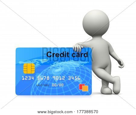 White 3D Character Leaned On A Credit Card