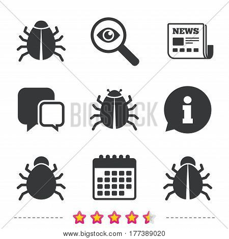 Bugs vaccination icons. Virus software error sign symbols. Newspaper, information and calendar icons. Investigate magnifier, chat symbol. Vector
