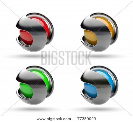 Metallic Path Around a Spherical Colorful Core 3D Illustration