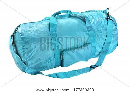 Road sports bag blue color. Studio photography handbag isolated on white background. Close up.