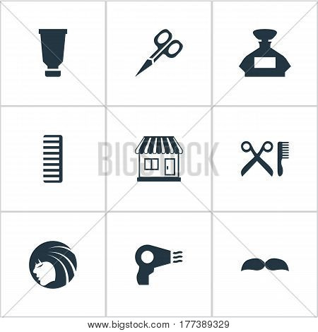 Vector Illustration Set Of Simple Hairdresser Icons. Elements Scent, Bottle, Blow Dryer And Other Synonyms Container, Girl And Hackle.