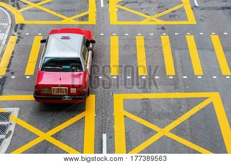 Typical Taxi On A Road In Hong Kong