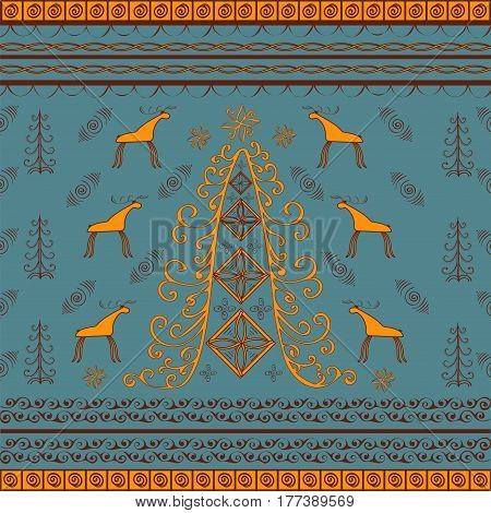 Tree moose natural ethnic background. Vintage vector pattern with animals in the forest