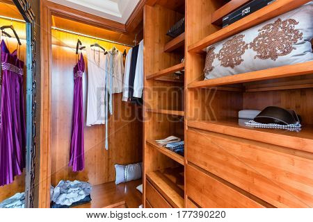 interior of modern wooden wardrobe