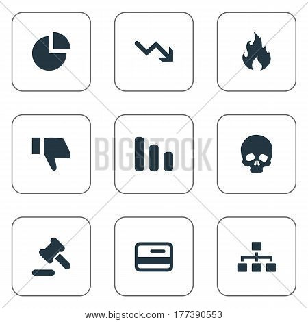 Vector Illustration Set Of Simple Situation Icons. Elements Head Bone, Tribunal, Net And Other Synonyms Business, Circular And Down.