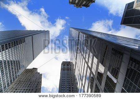 New York City, USA, December 31 2016: Looking towards the sky in Manhattan Island, New York City, USA