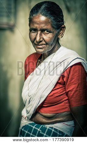 Alappuzha, Kerala, India - Circa November 2012 -Portrait of an unidentified Indian woman in saree