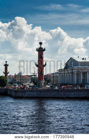 View Of Historical Vasilievsky Island With Red Rostral Column In Saint Petersburg, Russia.
